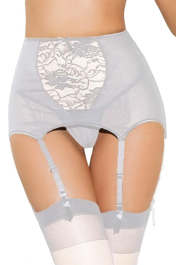 High-Waisted Sculpting Suspender Belt with Floral Panel
