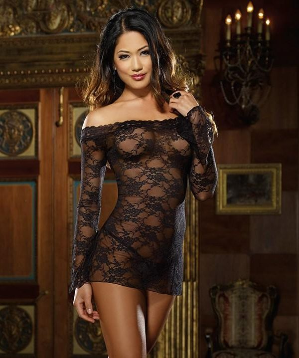 Lace Bodycon Off-The-Shoulder Babydoll - Black
