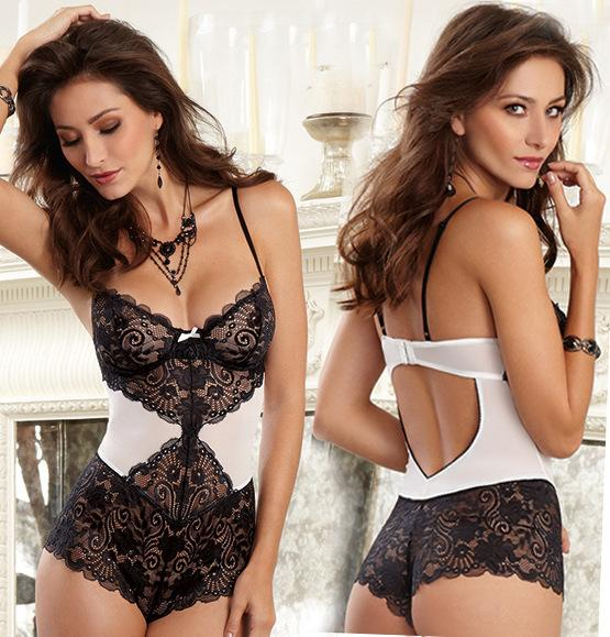 Monochrome Bodysuit with Elegant Lace Panels - Black & White