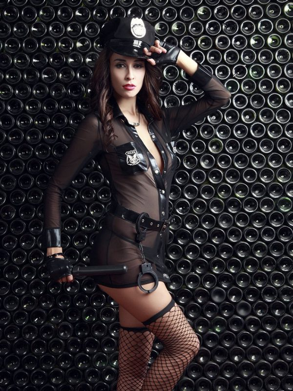 Naughty Cop Cosplay Uniform with Accessories - Black