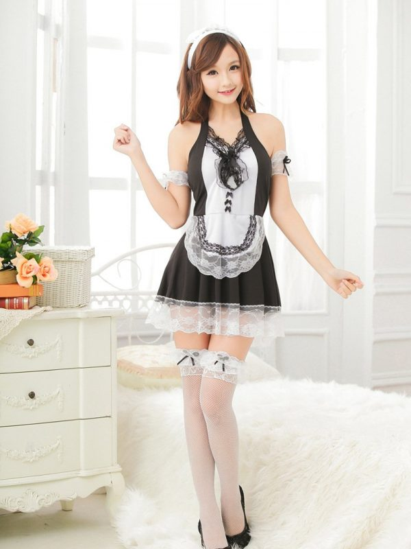 Naughty French Maid Cosplay Dress in Black with Intricate White Lace Front Panel and Trim