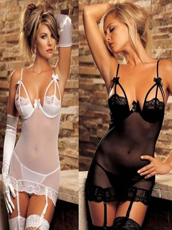 Naughty White Pushup Babydoll with Matching G-string and Suspenders