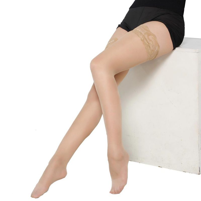 Nude Nylon Sheer Stockings With Thigh-High Lace Trim