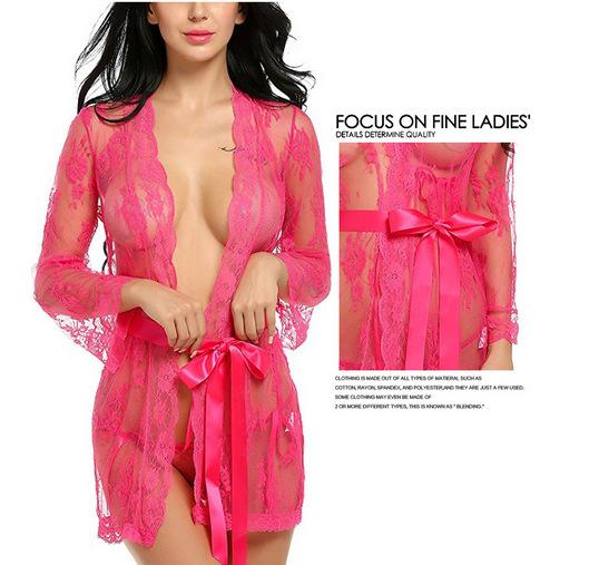 Pink Lace Long-Sleeved Robe with Ribbon-Tie