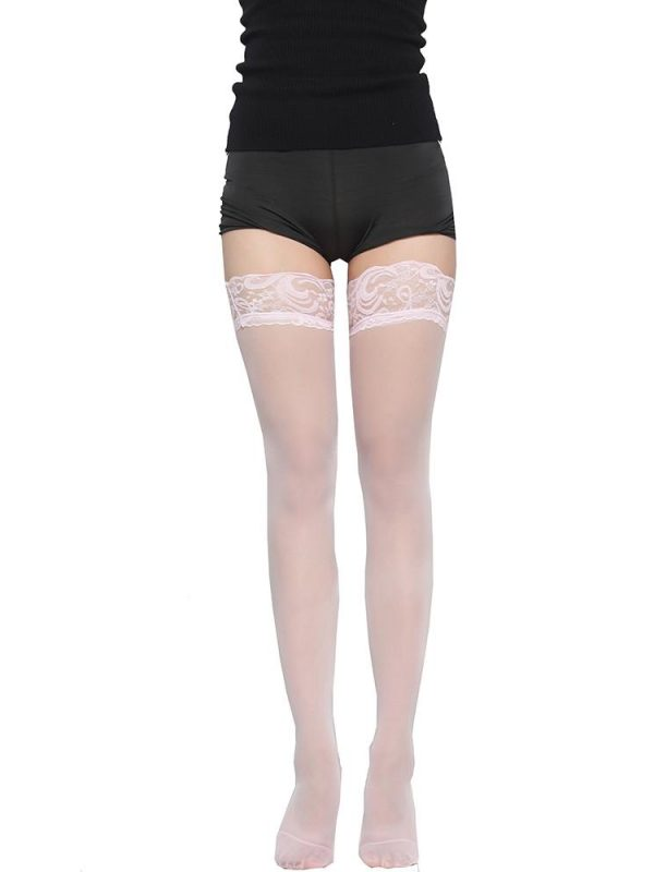 Pink Mesh Thigh-High Stockings with Lace Trim