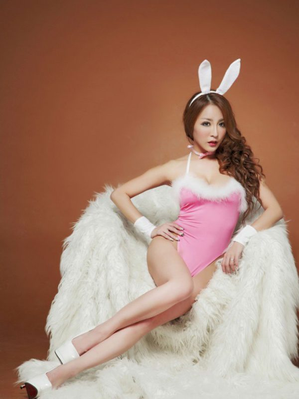 Pink Teddy Bunny Costume with White Fur Trim