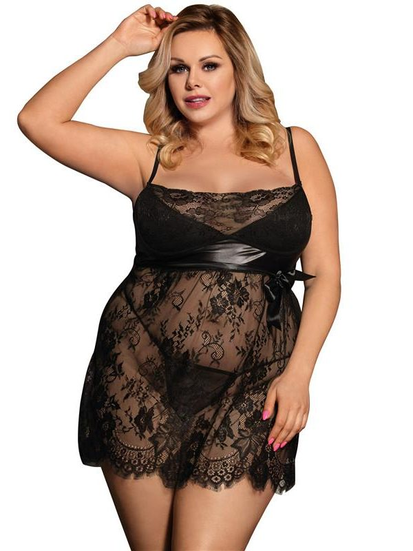 Plus Size Eyelash Lace Babydoll Dress and Panties - Black