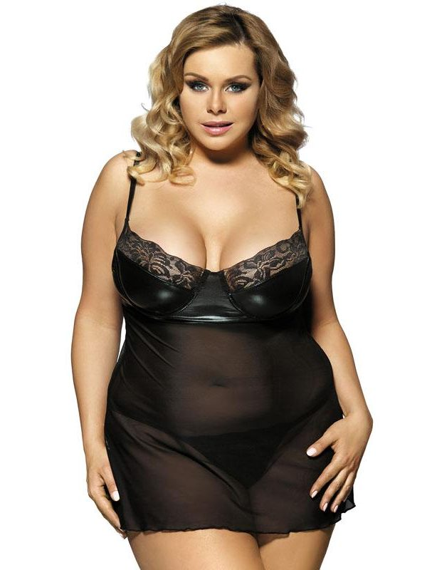 Plus Size Mesh Babydoll with a Leather-look Bra - Black