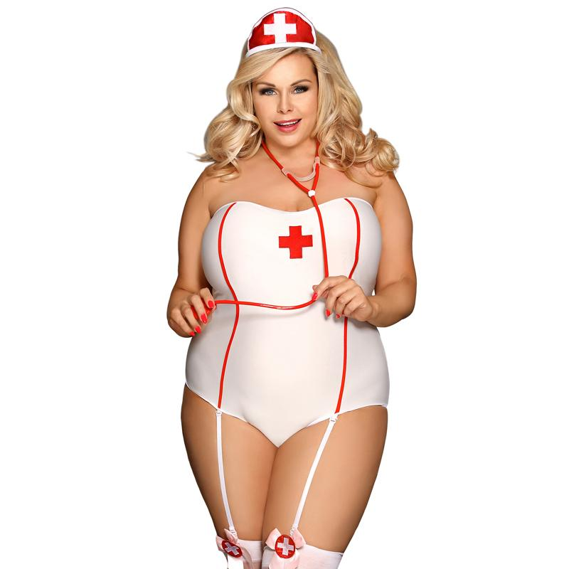 Plus Size Nurse Costume with Stockings - White/red