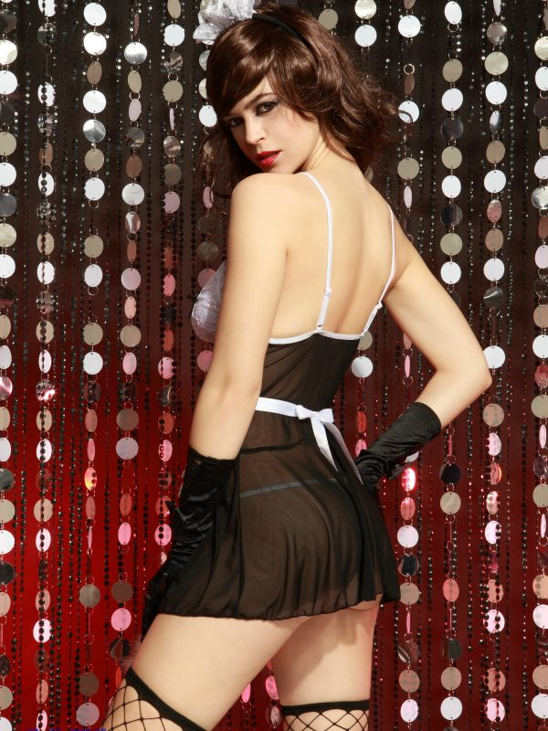 Premium French Maid Cosplay Outfit in Black with Intricate Lace Detailing