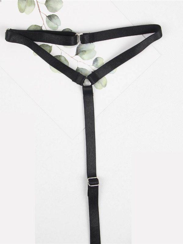 Provocative V-neck Black Lace Embroidered Choker Teddy