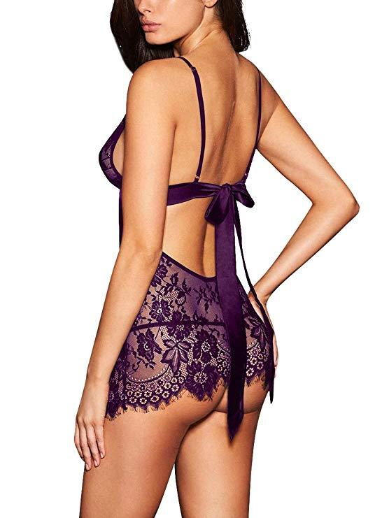 Purple Backless Lingerie V-neck Babydoll with Intricate Lace Detailing and Scalloped Edging