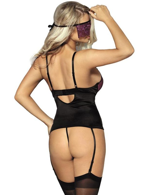 Purple Lace Bustier Lingerie Set with Eyemask