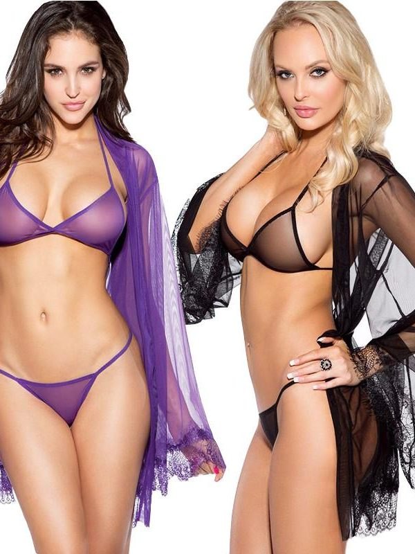 Purple See-through Lingerie Set and Matching Gown
