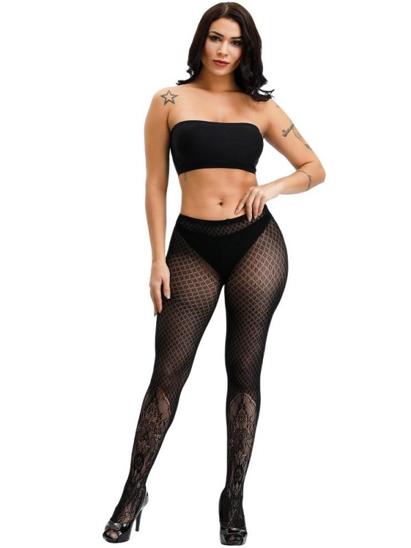 Raunchy Black Fishnet Stockings With Lace Ankle Detailing