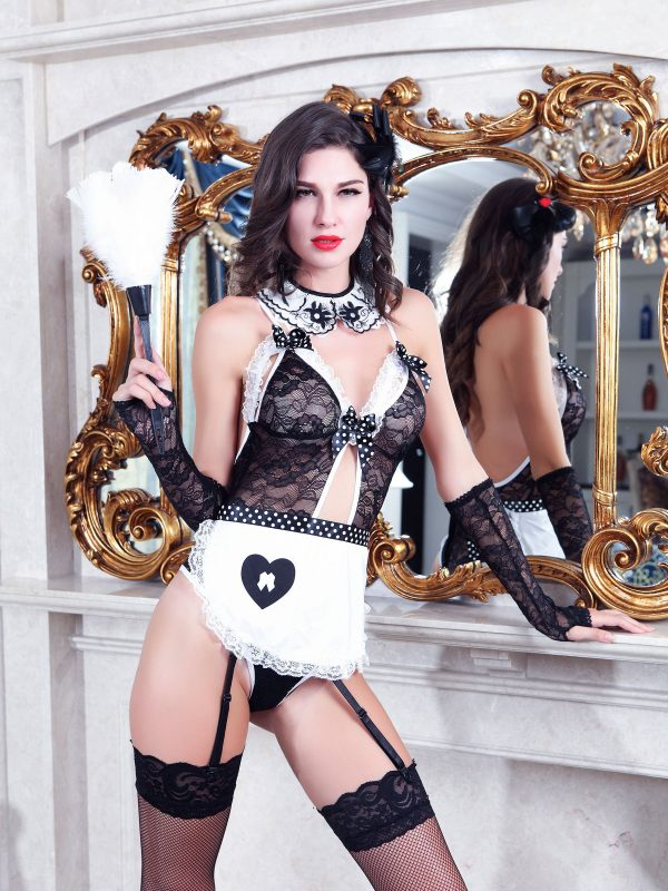 Raunchy French Maid Role-play Costume in Black Lace with White Collar and Apron