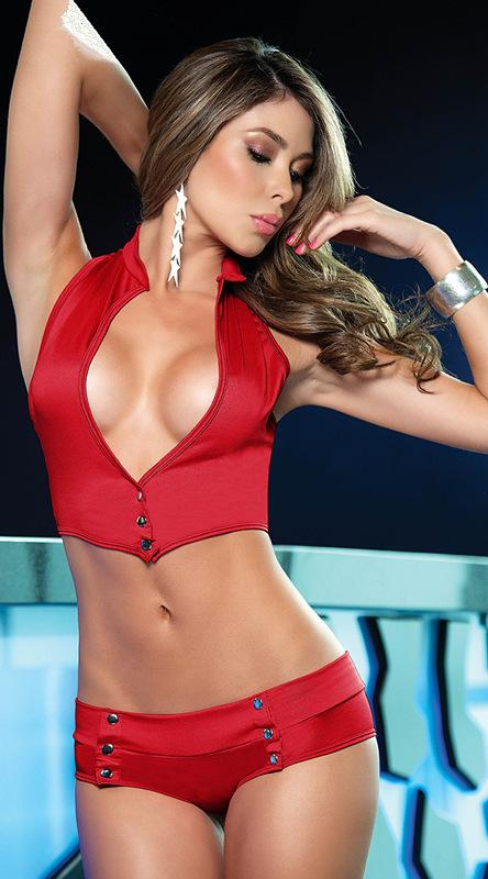 Red 2-Piece Erotic Set with Halterneck Bralette and Hotpants
