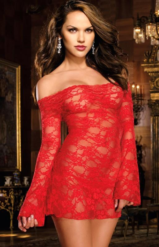 Red Babydoll Nightdress with Long Sleeves and Flower Pattern