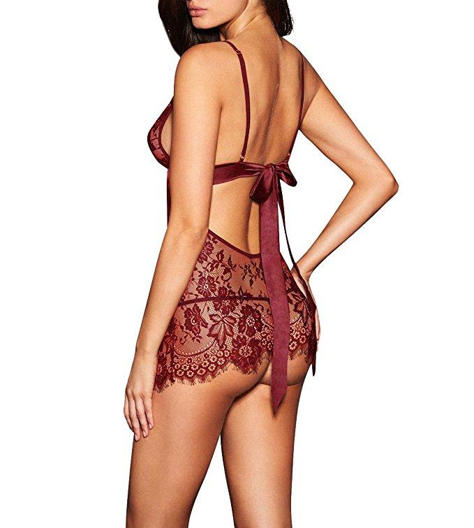 Red Backless Lingerie V-neck Babydoll with Intricate Lace Pattern and Scalloped Edging