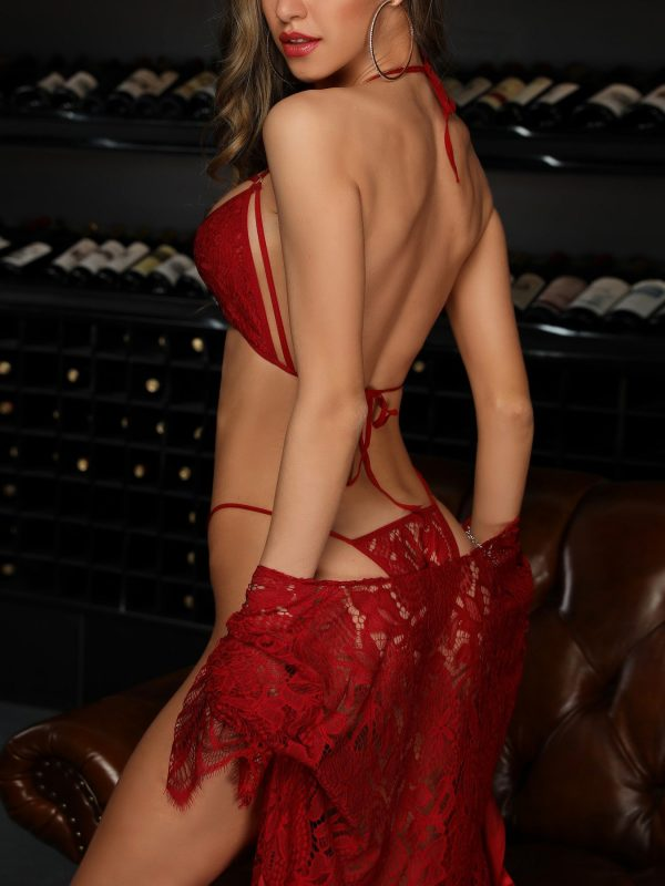 Red Lace Hollow Out Robe and Matching Lingerie Set