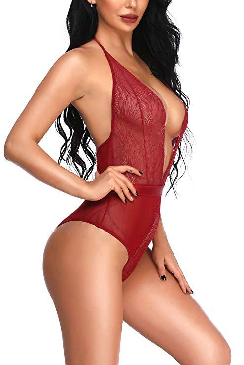 Ruby Sheer Plunge Halterneck Bodysuit with Lace Panels & Ribbon - Red