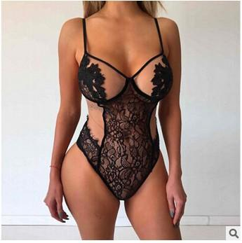 Seductive Black Applique Mesh Lace Bodysuit
