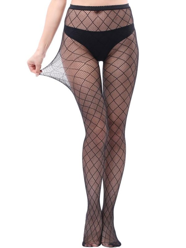 Seductive Black Nylon Check Fishnet Pantyhose