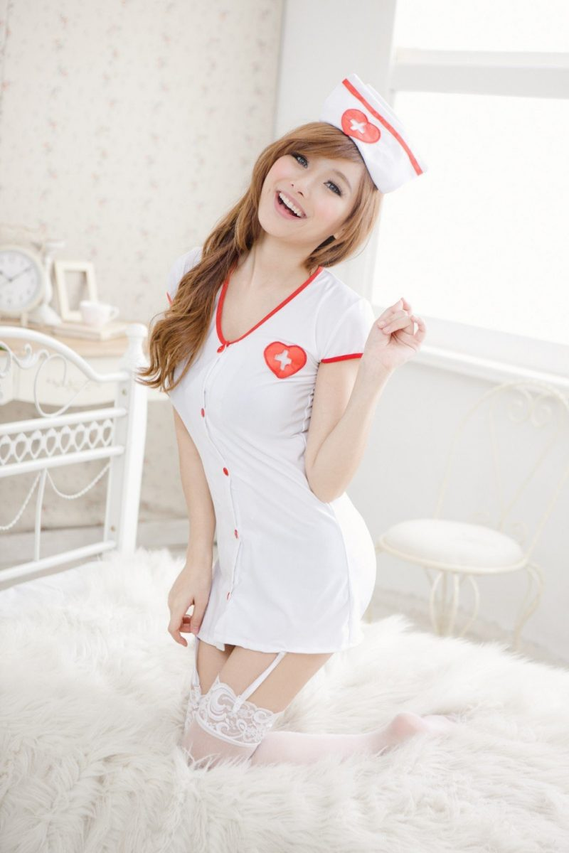Seductive Nurse Costume with White Dress Matching Hat and Suspenders
