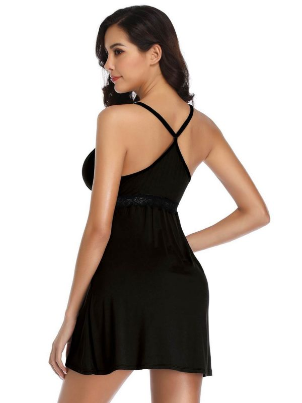 Sexy Black Babydoll Nightgown with Tempting Lace Trim