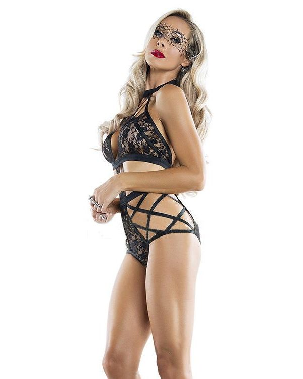 Sexy Black Bandage Teddy With Lace Modesty Panels
