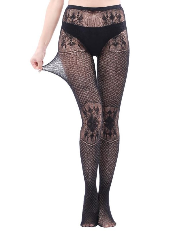 Sexy Black Fishnet Stockings With Patterned Lace