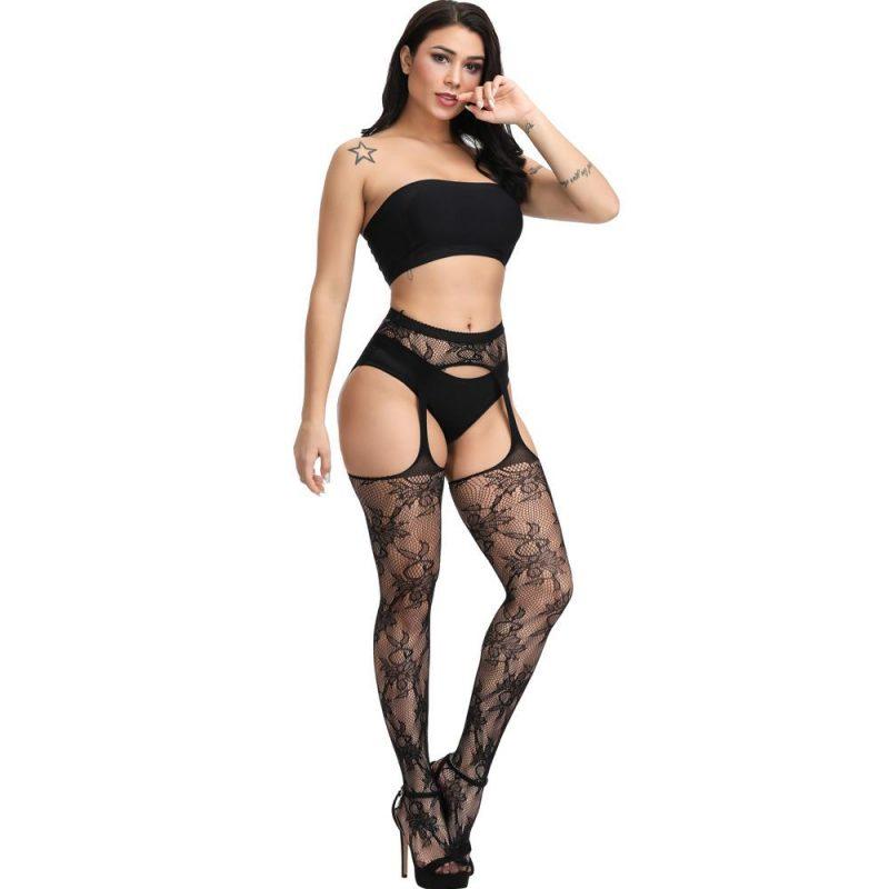 Sexy Black Flower Motif Suspender Stockings
