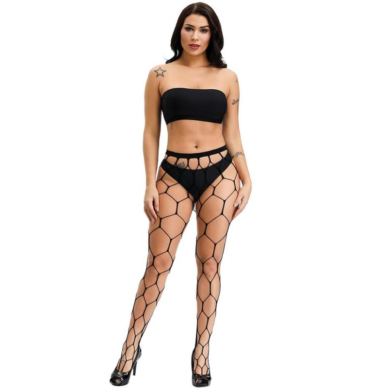 Sexy Black Hexagon Fishnet Pantyhose