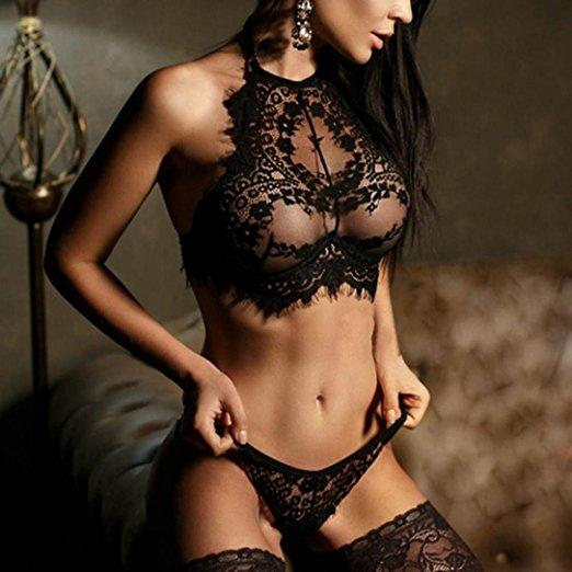 Sexy Black Lace Bralette and Panty Set