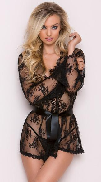 Sexy Black Lace Robe with Floral Pattern