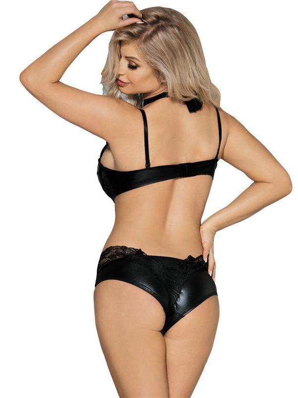 Sexy Black Leather Bralette Set with Lace Neck Detail