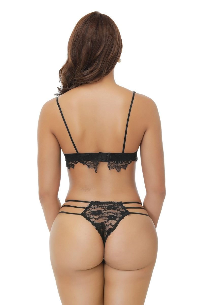 Sexy Black Lingerie Set with a Patterned Lace Bra and Matching Panties