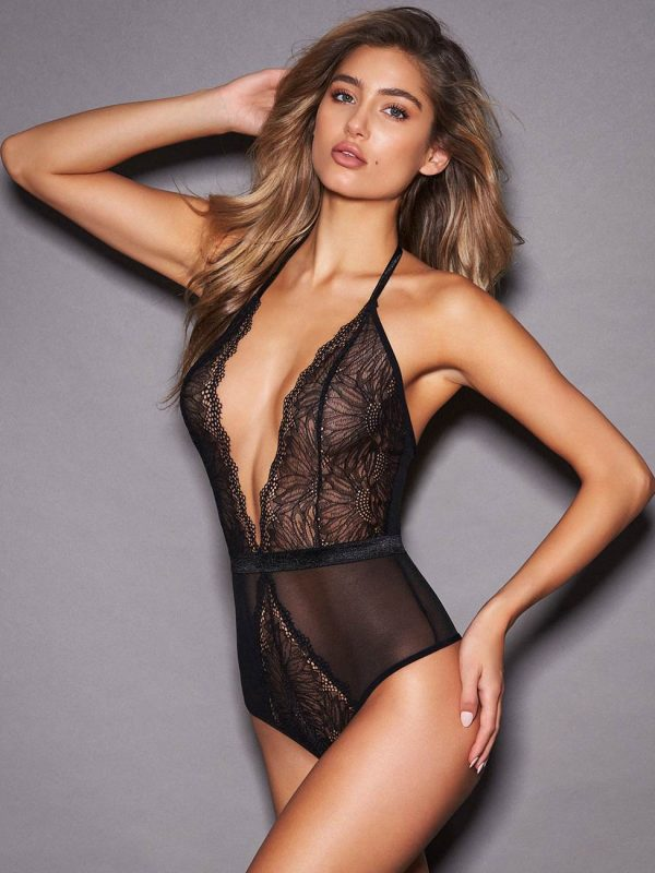 Sexy Black Plunging Bodysuit with a Deep V-neck and Lace Detail
