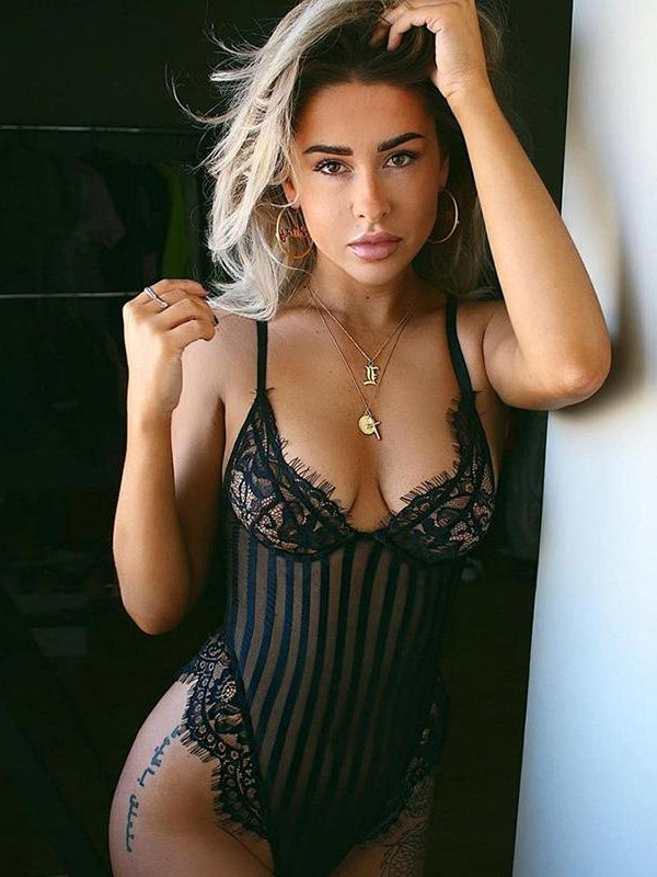 Sexy Black Striped Mesh Bodysuit with Scalloped Lace Trim