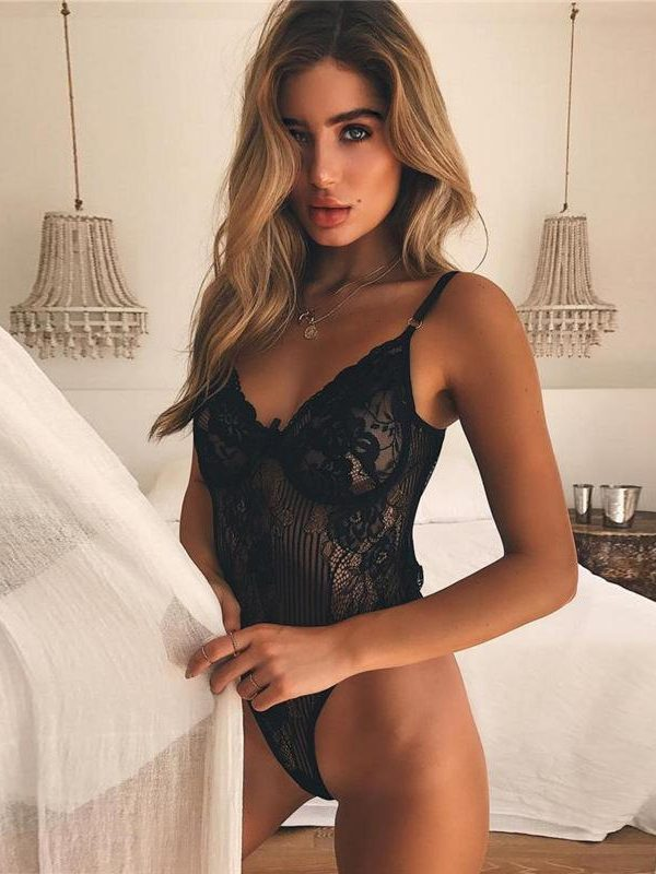 Sexy Black Tabitha Lace Bodysuit with Floral Pattern