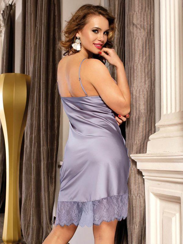 Sexy Fashionable Lilac Silk and Lace Women's Pyjamas
