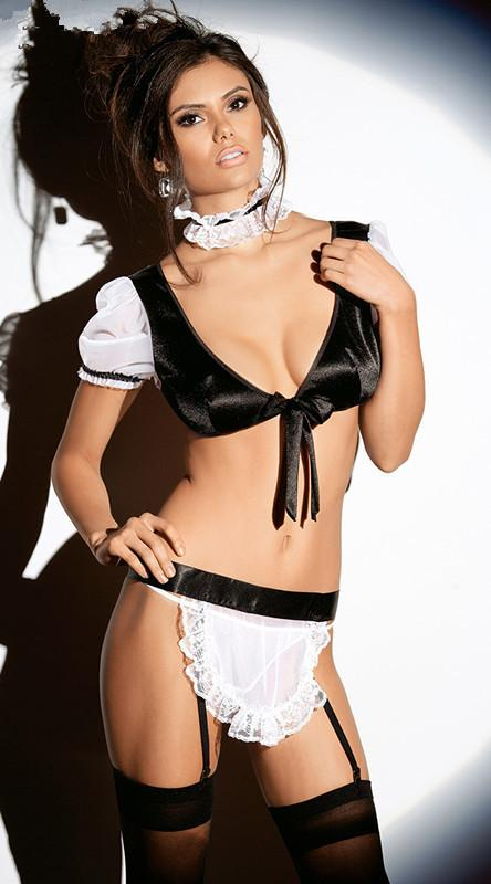 Sexy French Maid Costume in Black Satin with White Lace Trim