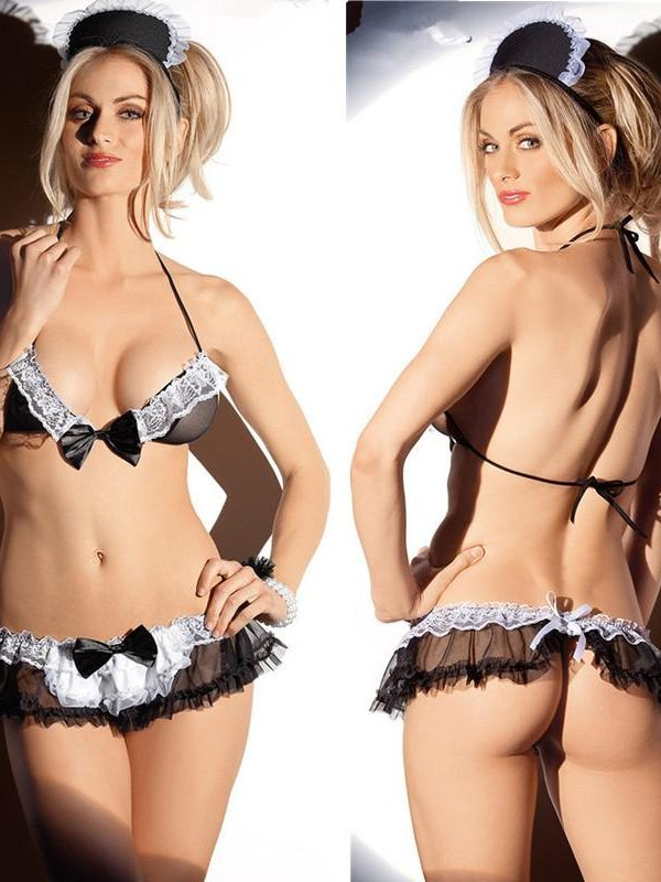 Sexy French Maid Lingerie Set Black with White Lace Trim