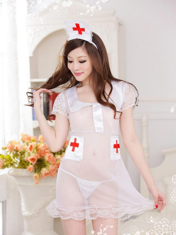 Sexy Nurse Cosplay Costume in White See-through Mesh