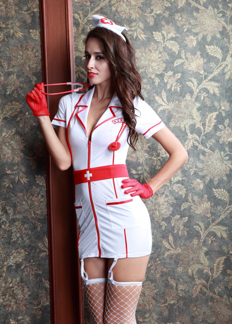 Sexy Nurse Cosplay Costume with Garter and Stockings
