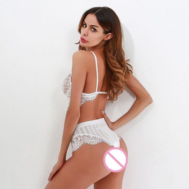 Sexy White Eyelash Lace Nightwear Lingerie Set with Bra and Matching Panties