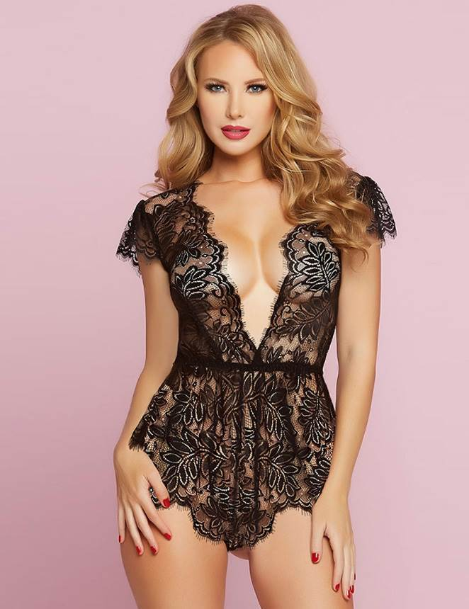 Showstopping Black Lace Embroidered Deep V-neck Teddy