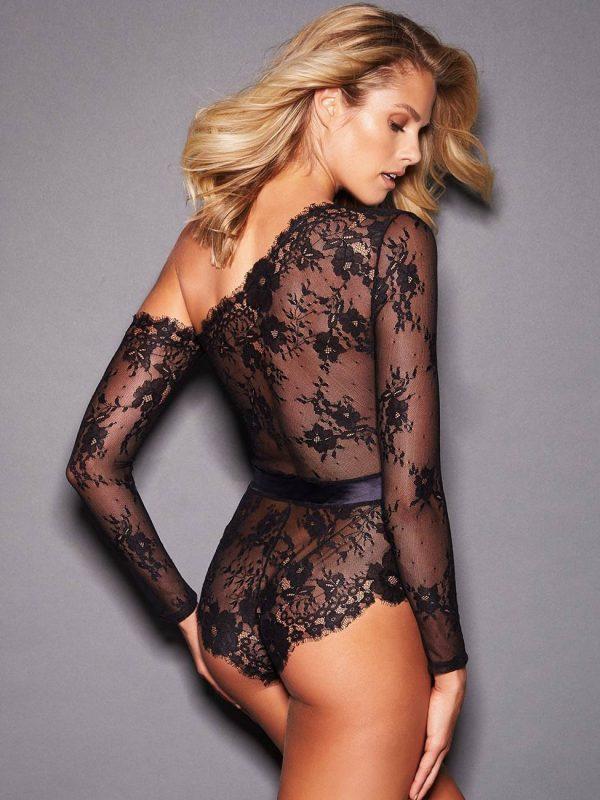 Sophisticated Sheer One-shoulder Black Lace Bodysuit