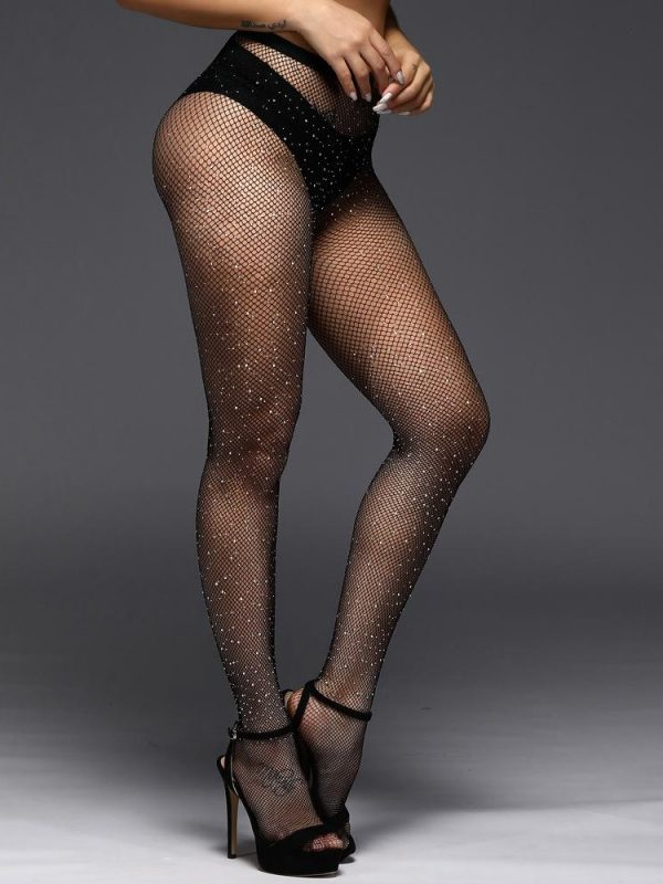 Sparkly Black Fishnet Sheer Pantyhose With White Crystal Rhinestone Decoration