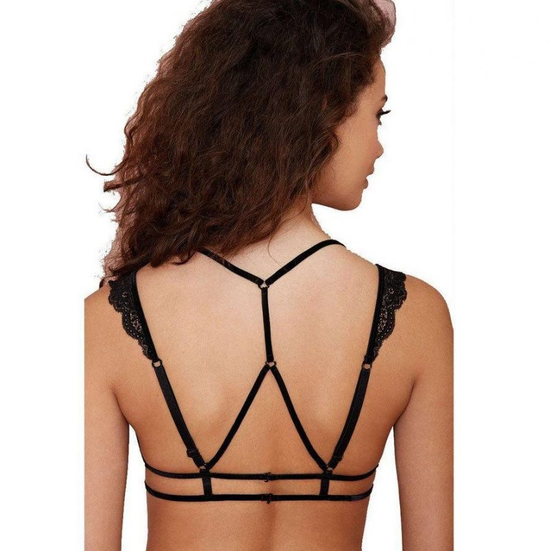 Structural Cut-Out Bralette with Vintage Lace Cups - Black